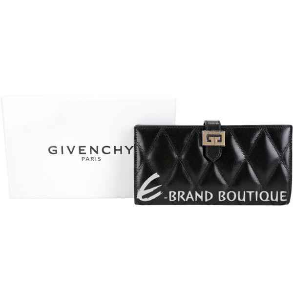 GIVENCHY GV3 絎縫鑽石紋山羊皮釦式長夾(黑色) 1920475-01