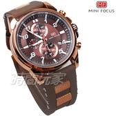 MINI FOCUS 大錶徑 個性帥氣三眼男錶 計時碼表 日期視窗 防水 咖啡x玫瑰金 橡膠錶帶 MF0268玫咖