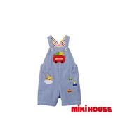 MIKI HOUSE 小熊車車5分吊帶褲(藍)