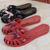 蝴蝶結塑膠果凍拖鞋女休閒包頭防滑沙灘拖鞋女水晶平底涼拖鞋