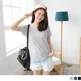 OB嚴選《AB2506-》釦飾雙口袋造型配色滾邊高棉量圓領上衣.4色--適 S~L