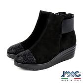 【IMAC】時尚義大利亮飾設計款低跟短統靴/女靴  黑色(206471-BL)