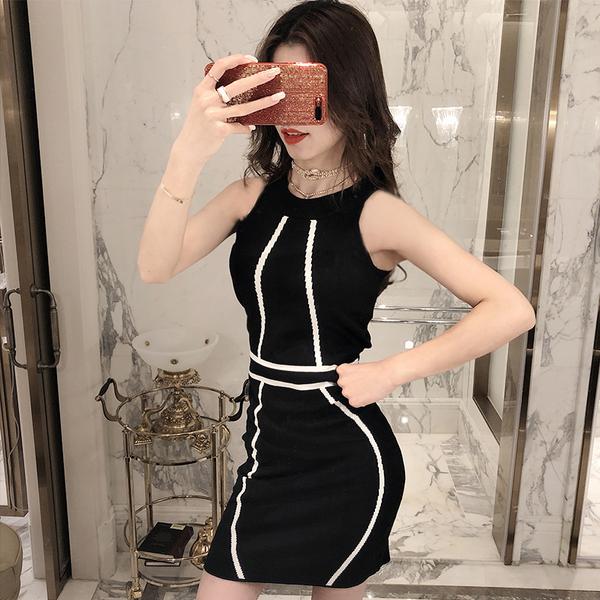 VK旗艦店 韓國風性感修身針織氣質包臀無袖洋裝