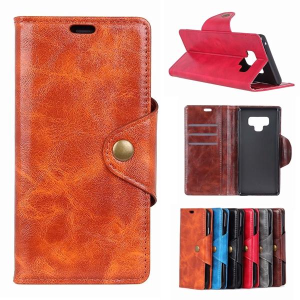 三星 Note9 Note8 S9 S9 Plus S8 Plus S8 銅釦牛紋 手機皮套 插卡 支架 保護套 皮套