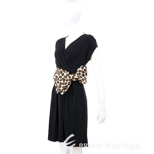 VALENTINO 黑色豹紋蝴蝶結飾短袖洋裝 1230419-50