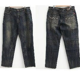 [MIT 大尺碼]高磅數立體繡線復古刷色牛仔褲