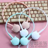 糖果色耳機女生萌  貓耳朵耳機頭戴式可愛粉 線控帶麥k歌手機通用