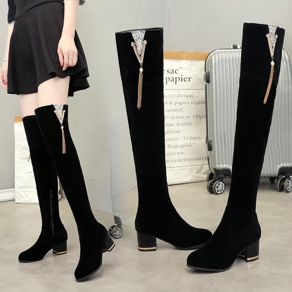 膝上靴 長靴女過膝 粗跟瘦瘦靴 秋冬季高跟長筒靴 顯瘦彈力靴加絨女靴子