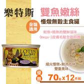 【SofyDOG】LOTUS樂特斯 慢燉嫩絲主食罐  鮭魚+鱈魚口味 全貓配方 (70g 12件組) 貓罐 罐頭