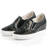 DeSire 閃耀水晶網布楔型鞋-黑