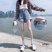 高腰牛仔短褲女超高腰夏季寬鬆闊腿a字薄款辣妹女裝【聚物優品】