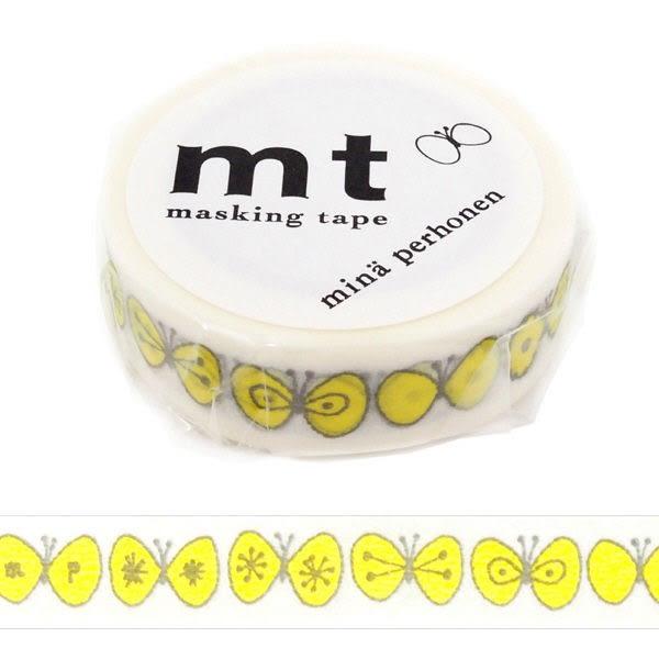 日本mt×mina perhonen Masking Tape 和紙膠帶 choucho・yellow 15mm