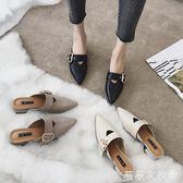 穆勒鞋 外穿新款涼懶人厚底尖頭中粗跟高跟穆勒鞋  薇薇家飾