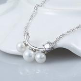 925純銀項鍊 珍珠-時尚生日母親節禮物優雅鑲鑽女墜飾73w50【巴黎精品】
