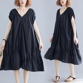 洋裝 連身裙 V領洋裝不規則大碼女裝寬鬆裙黑色褶皺魚尾裙時尚露肩2020夏季