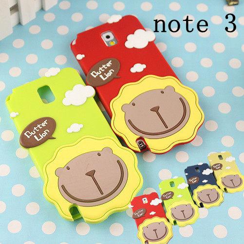 note3 免運  Butter Lion三星NOTE3奶油獅子矽膠套N9000 卡通手機保護殼(任選二個$900)