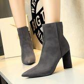 粗跟高跟鞋子 絨面尖頭顯瘦短靴騎士靴《小師妹》sm602