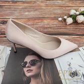 現貨 韓國製造 晚宴公主 真絲尖頭鞋珍珠細跟鞋 22-26 EPRIS艾佩絲-甜美粉