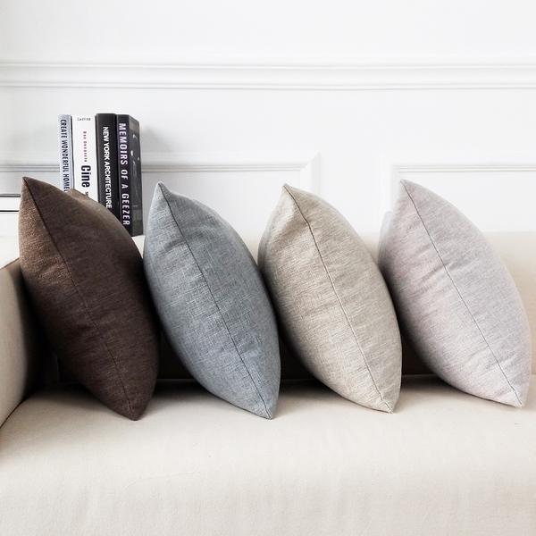 靠枕 加厚亞麻抱枕沙發靠枕辦公室床頭簡約靠墊大腰枕套靠背不含芯定制