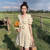 夏季2020新款韓版法式復古裙氣質V領短袖波點連身裙女顯瘦A字裙子