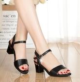 夏季新款高跟粗跟百搭韓版涼鞋女吊墜百搭露趾時尚防滑女鞋子