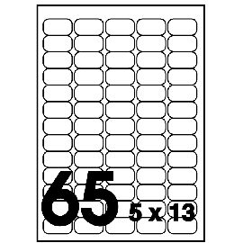 UNISTAR 裕德 白色電腦標籤 US4274-20【(5x13)65格圓角 20張/包】雷射/噴墨/影印三用