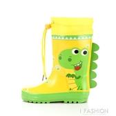 戶外游 兒童雨鞋男童女童卡通汽車恐龍兔子防滑高筒寶寶水鞋雨靴-Ifashion
