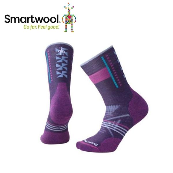 【美國 SmartWool 女Phd戶外中級減震印花中長襪《 灰褐/山嵐紫》】SW000768/保暖/戶外/運動襪