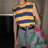 背心夏季韓版ulzzang寬鬆條紋復古百搭條紋無袖背心女上衣顯瘦打底衫 曼莎時尚