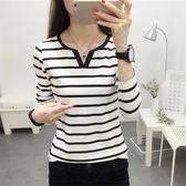 (T-4295)黑白條紋v領修身顯瘦長袖T恤