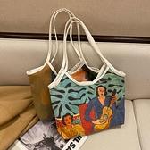 帆布包 油畫包春夏新款潮單肩大容量背包包女手提帆布買菜上課托特包