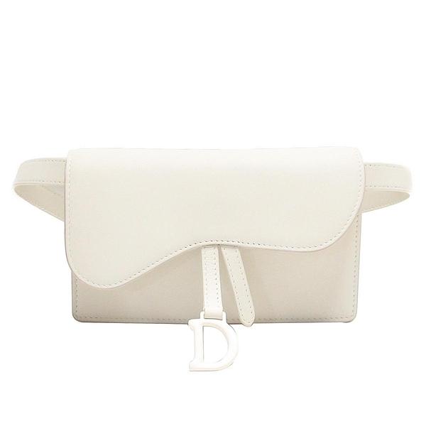 Dior 迪奧 白色牛皮馬鞍腰包 Saddle Belt Pouch Clutch Bag S5619ILLO【BRAND OFF】