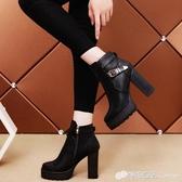 秋冬季新款英倫風厚底加絨馬丁靴女粗跟短靴防水台高跟女鞋中筒靴12/04