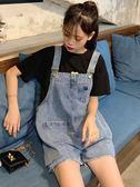 網紅新款韓版高腰寬鬆背帶褲破洞減齡闊腿可愛牛仔短褲女 ciyo黛雅