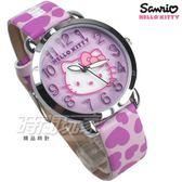 HELLO KITTY 凱蒂貓 公司貨 甜心時刻 滿滿愛心 童趣 卡通錶 女錶 真皮帶 紫 LK689LWVV