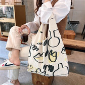 帆布袋 簡約 塗鴉 帆布包 手提袋 單肩包 環保購物袋 手提/單肩【SP99301】 ENTER  11/07