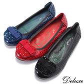 【Deluxe】全真皮串珠蘋果蝴蝶結鱷魚紋小坡跟娃娃鞋(黑☆藍☆紅)