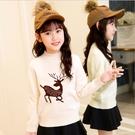 衣童趣(•‿•)韓版 中大女童甜美麋鹿針織衫 氣質百搭上衣【現貨】