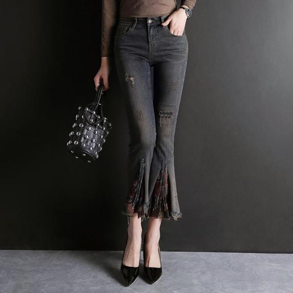 寬管褲 垂感微喇牛仔褲女春裝2021新款高腰直筒褲喇叭褲子顯瘦緊身九分褲