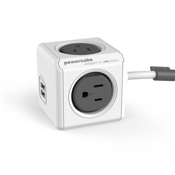 【索樂生活】荷蘭PowerCube 擴充插座4面3孔雙USB兩用延長線1.5m