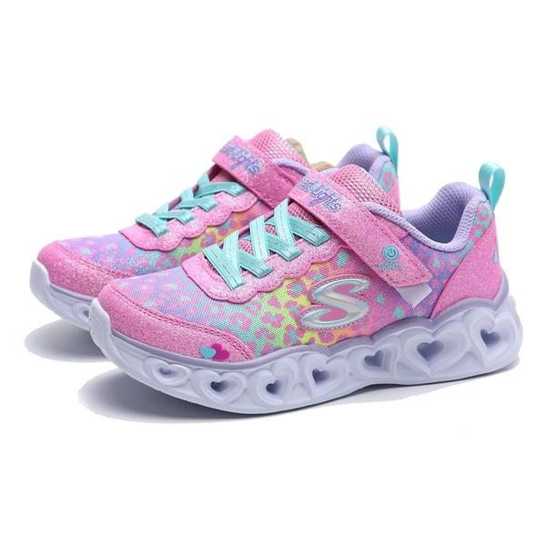 SKECHERS 運動鞋 SLIGHT HEART LIGHT 粉色 豹紋 亮粉 愛心燈 中童 (布魯克林) 302145LPKMT