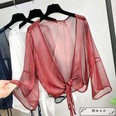 夏季短款防曬開衫女仙女雪紡薄款外套搭配吊帶裙子的小外披肩罩衫