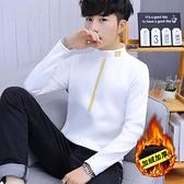 長袖男士長袖T恤秋冬季男裝加絨加厚衛生衣保暖打底衫潮流上衣服裝