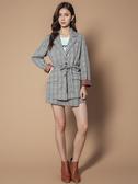 秋冬8折[H2O]前不對稱一片裙內裡褲裡短裙 - 藍底白條/黑格/粉色 #9632006