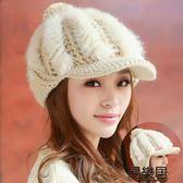 『618好康又一發』毛帽兔毛帽子韓版潮秋冬加絨厚毛線帽