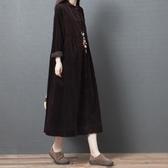 春裝新品1件85折 2020新款中國風 文藝大碼森系 燈芯絨連身裙-不含配飾