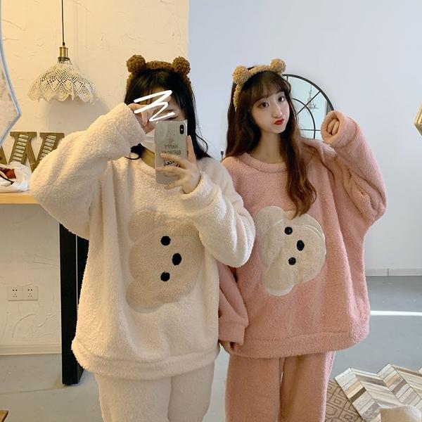 出清388 韓系小熊睡衣寬鬆毛絨家居服套裝長袖裙裝