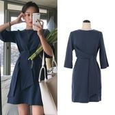 洋裝 韓版復古氣質繫帶收腰棉麻連身裙中長裙 降價兩天