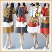 民族風洋裝 大尺碼民族風女裝 大尺碼短袖拼接中長款 民族風棉麻連身裙 萬聖節狂歡價