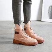 女短靴 韓版女鞋子 靴子女秋冬新款學生百搭大碼系帶復古女鞋馬丁靴《小師妹》sm3561